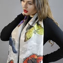 Butterfly Print Botanical Long Silk Scarf