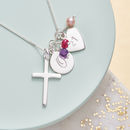 Silver Cross Birthstone Personalised Necklace - Amethyst, Ruby and Pink Fresh Water Pearl Birthstone
