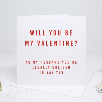'Husband Be My Valentine' Red Valentine's Day Card