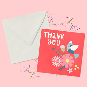 Floral Bouquet Thank You Greeting Card - thank you cards