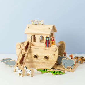 Wooden Noah's Ark With Painted Animals