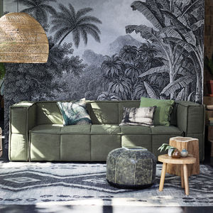 Canvas Couch In Brown, Green Or Grey - furniture