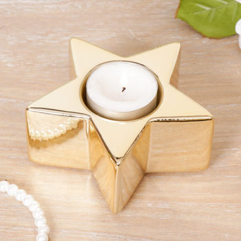 Gold Christmas Star Tea Light Holder