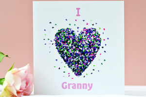 I Love Granny Butterfly Heart Card