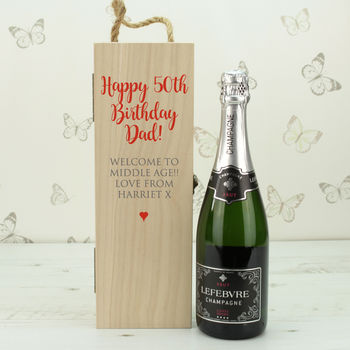 Personalised 50th Birthday Wooden Bottle Box