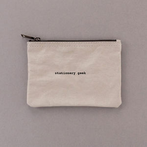 'Stationery Geek' Grey Zipper Pouch Bag