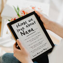 Personalised Things We Love About Nanny Grandma Print