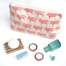 Pink Pig Oil Cloth Wash Bags