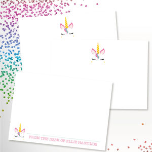 Personalised Kids Unicorn Note Cards Stationery - notelets & writing paper