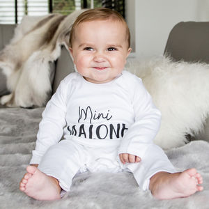 'Mini' Personalised Rompersuit Gift For New Baby - new baby gifts
