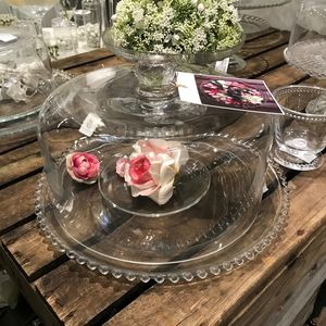 Large Glass Cake Plate With Dome