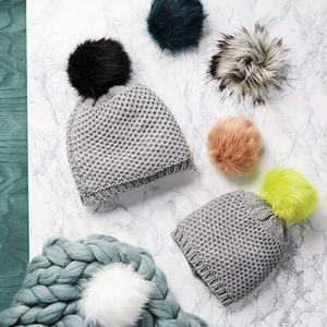 Mum And Me Interchangeable Pom Pom Hats - mother & child sets