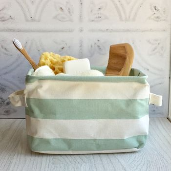 Green Stripe Storage Basket
