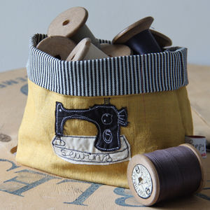 Sewing Machine Embroidered Fabric Storage Pot - sewing & knitting