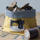 Sewing Machine Embroidered Fabric Storage Pot