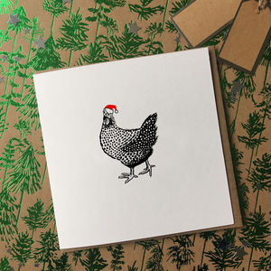 Pack Of Eight Christmas Hen Card