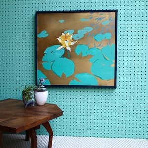 Yellow Lily Flower And Lily Pad Screenprint - posters & prints