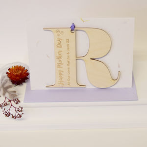 Personalised Initial Letter Mother's Day Petal Card
