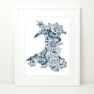 Wales Map Print - drawings & illustrations