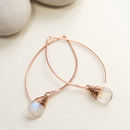 Rainbow Moonstone Long Hoop Earring