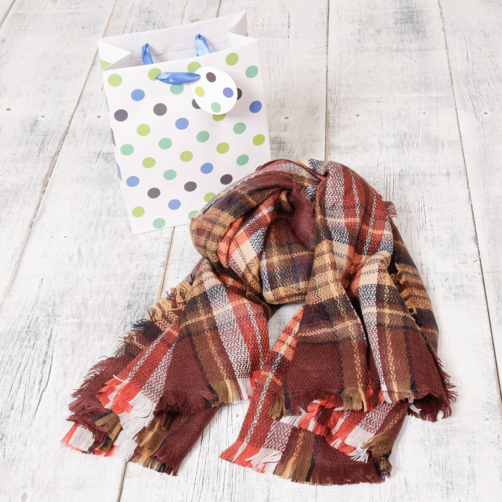 Autumn Plaid Scarf With Free Gift Bag