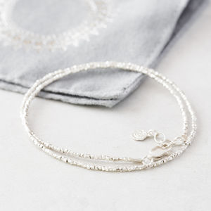 Tiny Silver Nugget Thread Wrap - bracelets & bangles