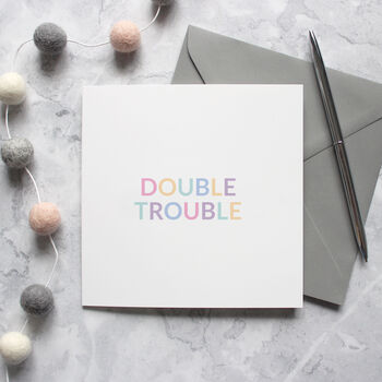 'Double Trouble' New Baby Twins Card