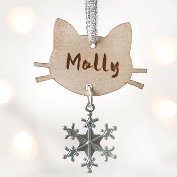 Personalised Cat Wooden Christmas Snowflake Decoration