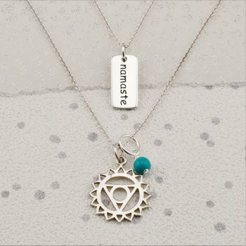 silver throat chakra charm turquoise necklace