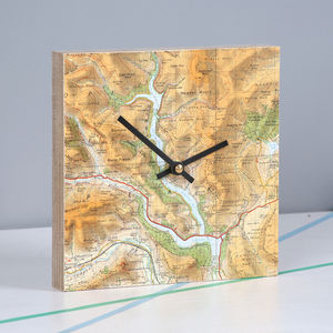 Personalised Map Location Square Clock - bedroom