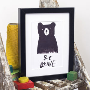 'Be Brave' Bear Print - pictures & prints for children