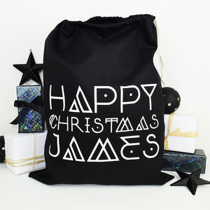 Personalised Nordic Monochrome Christmas Sack - storage & organisers