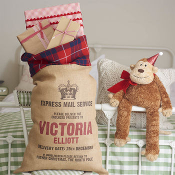 Personalised Christmas Sack With Tartan Trim