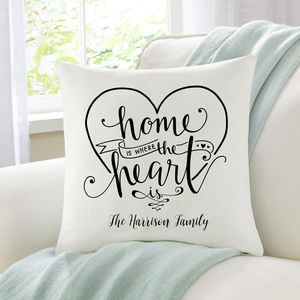 Home Is Where The Heart Is Family Cushion - housewarming gifts