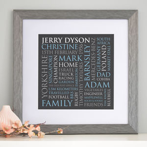 Personalised Dad's Typographic Art Print - nursery pictures & prints