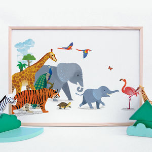 Signed Animal Parade Nursery Print