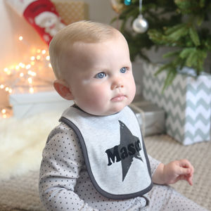 Grey Marl Star Bib - baby shower gifts