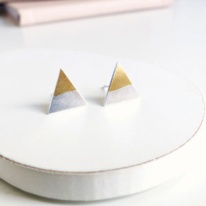 Gold Dipped Triangle Ear Studs