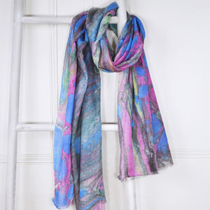 Murano Multicoloured Marble Print Wool Silk Blend Scarf - pashminas & wraps