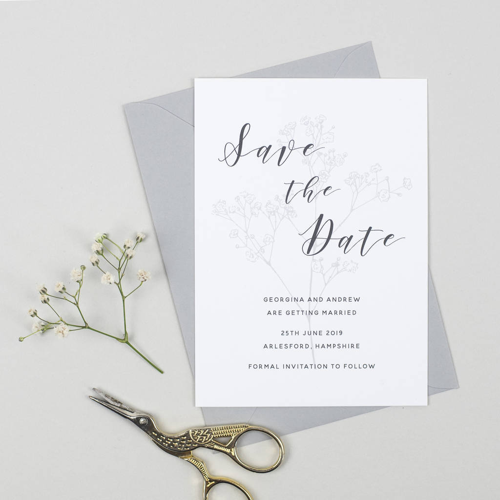 Spring Romance Save The Date Card By Pear Paper Co