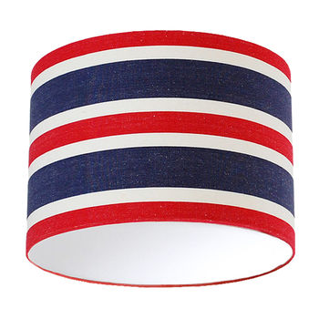 Navy Red And White Deckchair Stripe Lampshade
