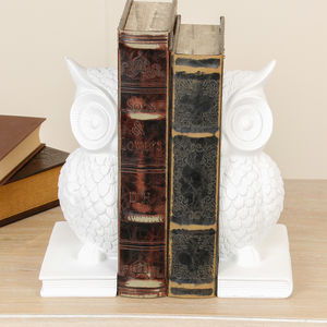 Wise Snow Owl Bookends - picture frames