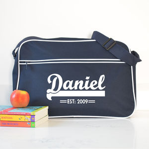 Personalised French Navy Retro Shoulder Bag With Name - children's accessories