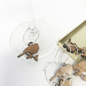 Five Personalised Bird Wine Glass Charms