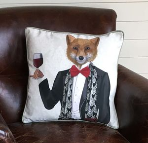 Fox In Evening Suit Decorative Cushion - cushions