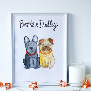 Personalised Pet Dog Portrait Print - drawings & illustrations