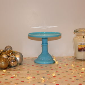 Mosser Six Inch Glazed Milk Glass Cake Stand
