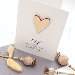 5th Wooden Heart Personalised Anniversary Card