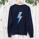 Ladies Silver And Blue Lightning Bolt Sweatshirt