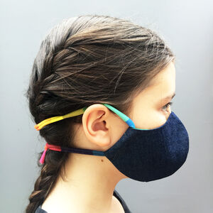 Kids Denim Face Mask With Rainbow Tie